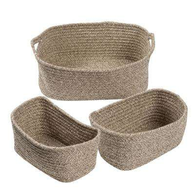 1 Gal. Cotton Storage Tote in Tan (3-Pack)