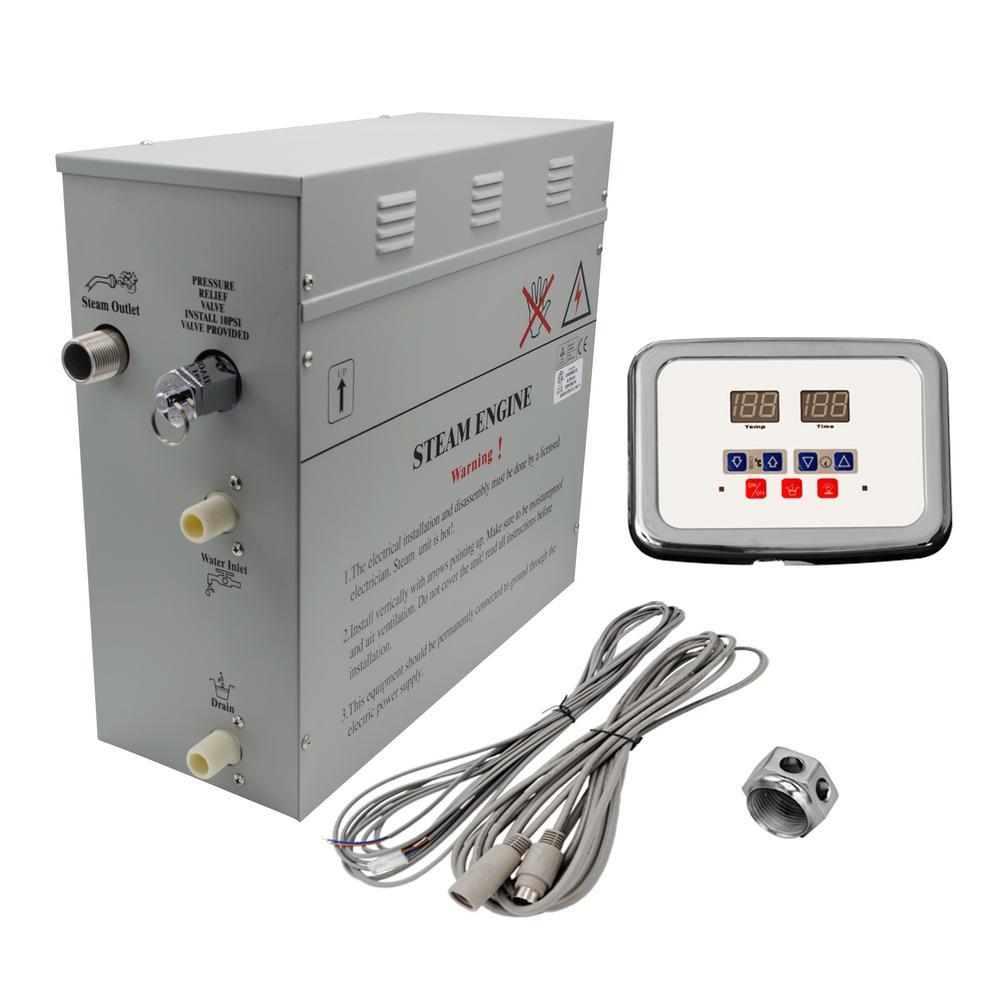 Steam Planet 6kw Self Draining Bath Generator With Waterproof Wiring Electric Shower Programmable Controls And Chrome