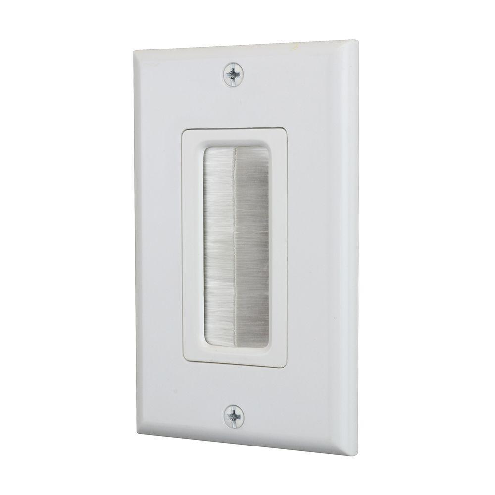 1-Gang Brush Plate, White