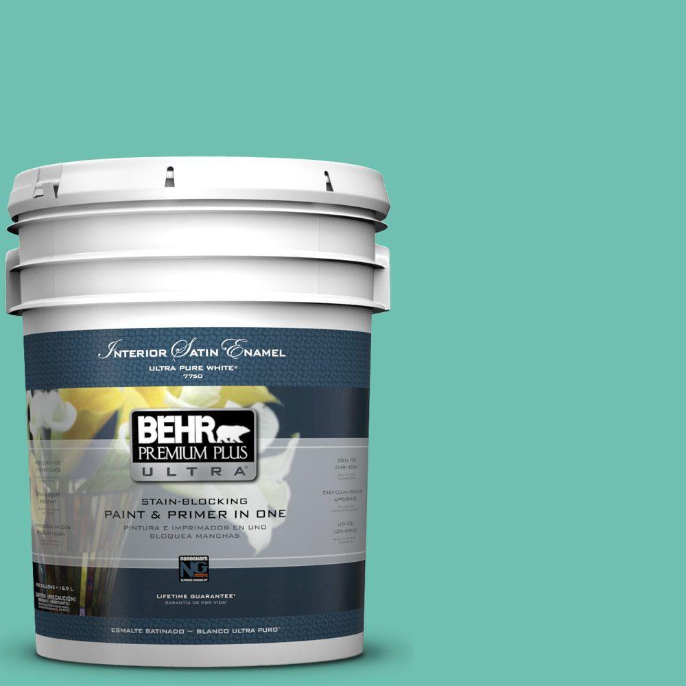 BEHR Premium Plus Ultra 5-gal. #P440-4 March Aquamarine Satin Enamel Interior Paint