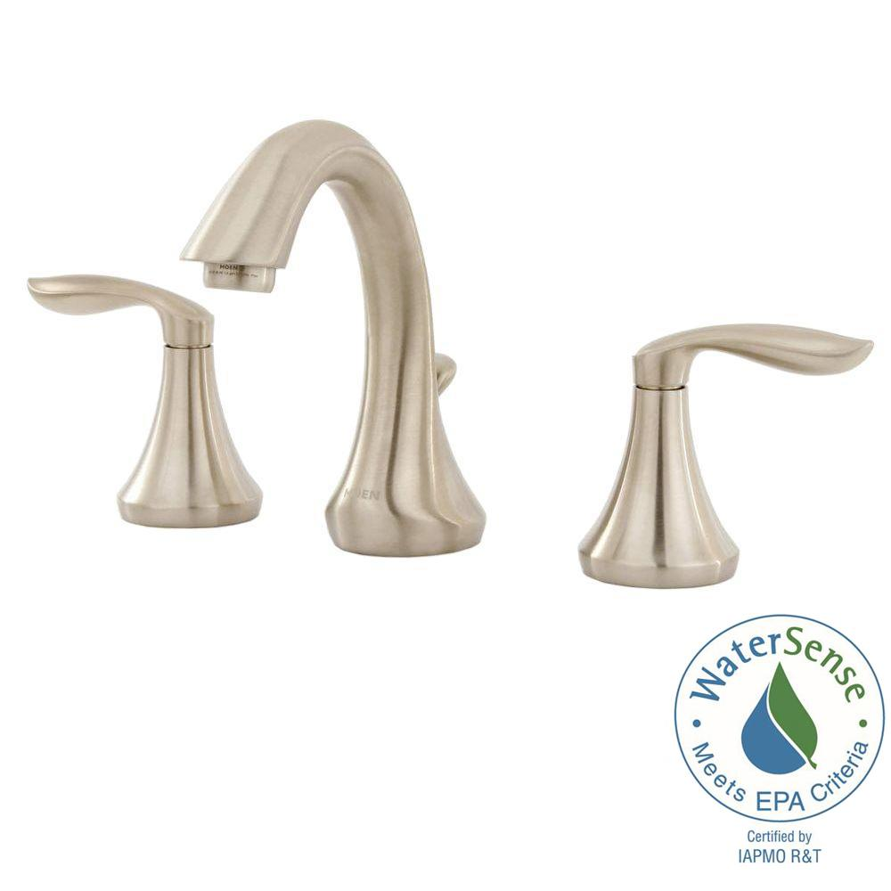 Moen Eva 8 In Widespread 2 Handle High Arc Bathroom Faucet Trim Kit In Brushed Nickel Valve