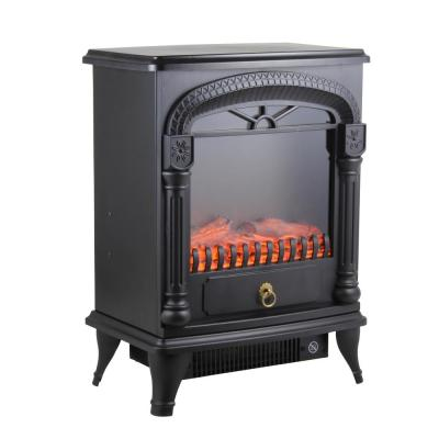 1,500-Watt Black Electric Fireplace Stove Heater with Realistic 3D Flame Effect