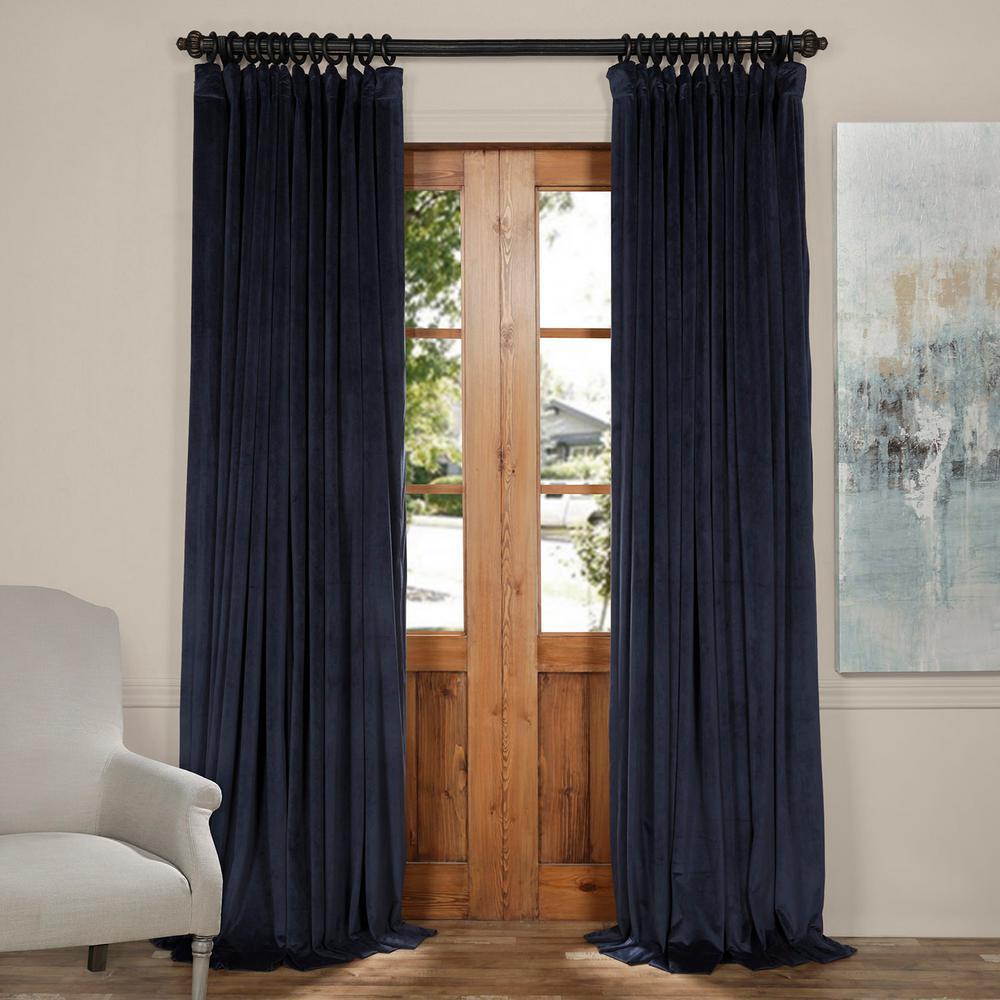 Gentil Blackout Signature Midnight Blue Doublewide Blackout Velvet Curtain   100  In. W X 84 In