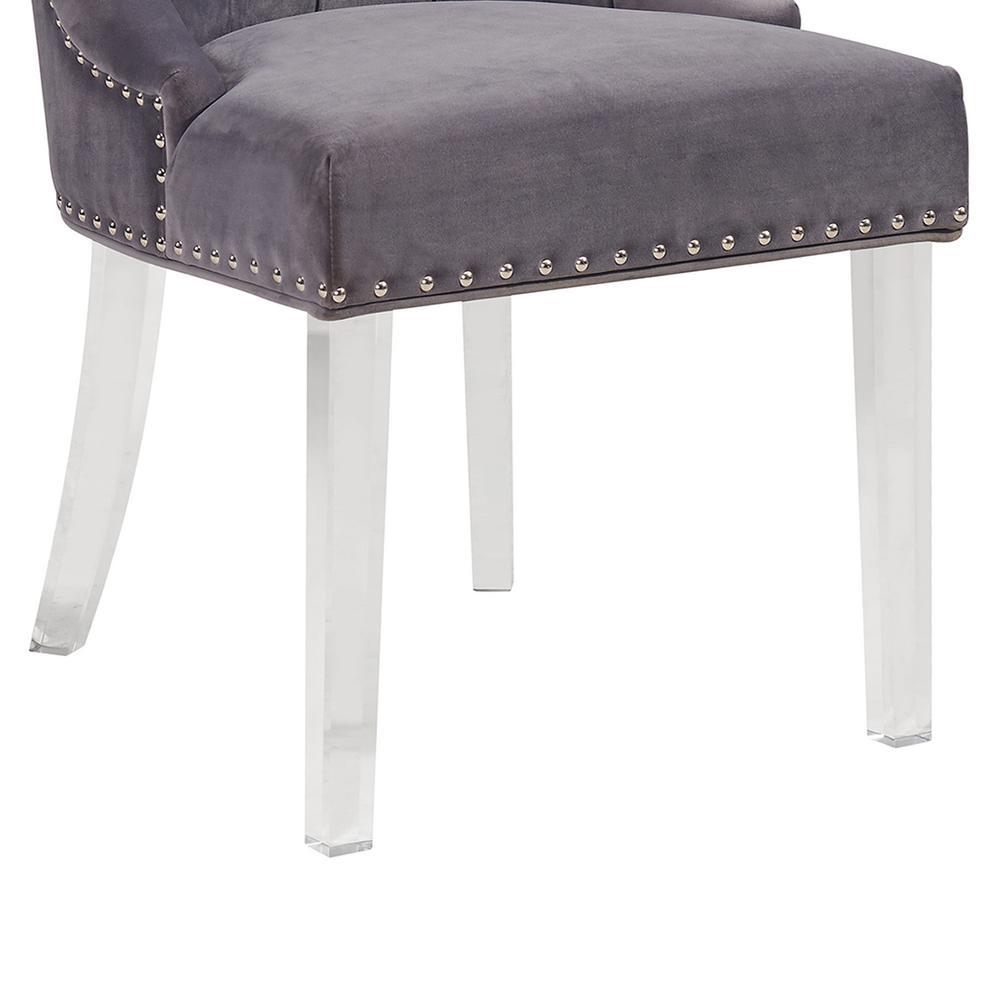 e6b3bea0aca +2. Armen Living Gobi 39 in. Gray Velvet and Acrylic Finish Modern Tufted  Dining Chair