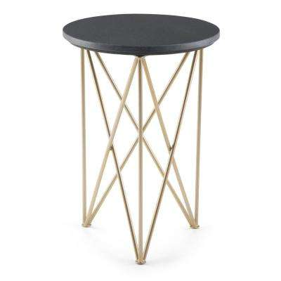 Dyson Modern Industrial Round 16 in. Wide Metal Accent Accent Side Table in Black, Gold