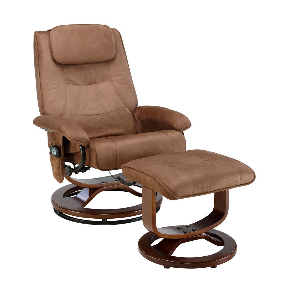 Deluxe Chocolate (Brown) Padded Microfiber Massage Recliner