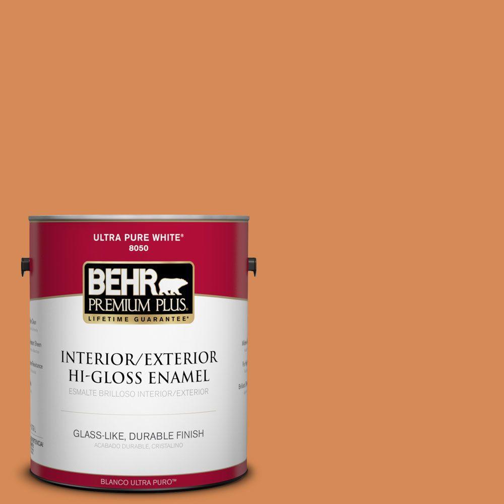 BEHR Premium Plus 1-gal. #PMD-80 Spiced Pumpkin Hi-Gloss Enamel Interior/Exterior Paint