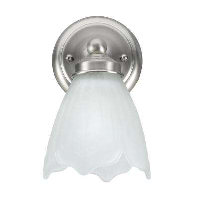 1-Light Satin Nickel Vanity Light with Satin Etched Tulip Glass Shade