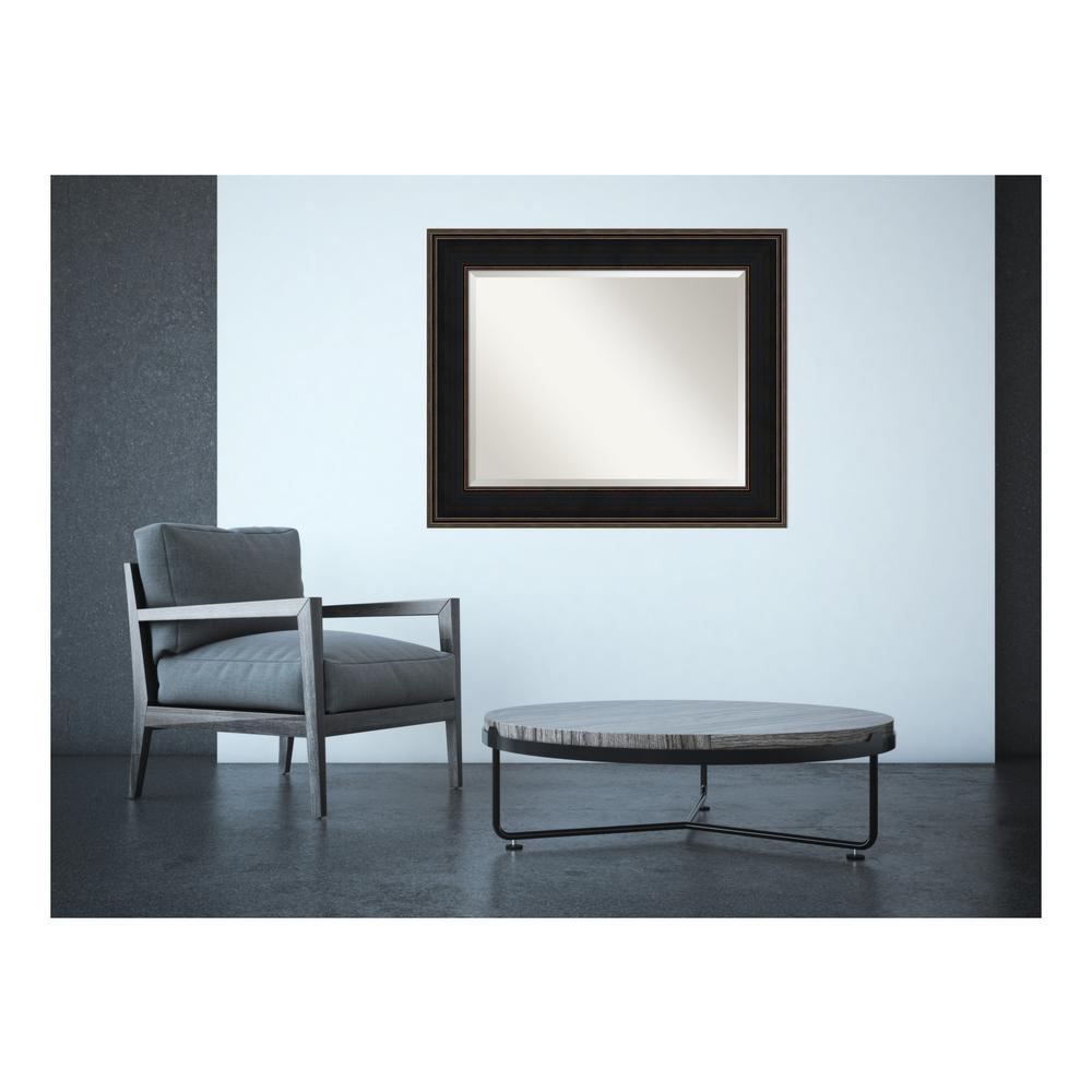 Mezzanine Espresso Wood 36 in. W x 30 in. H Contemporary Framed Mirror