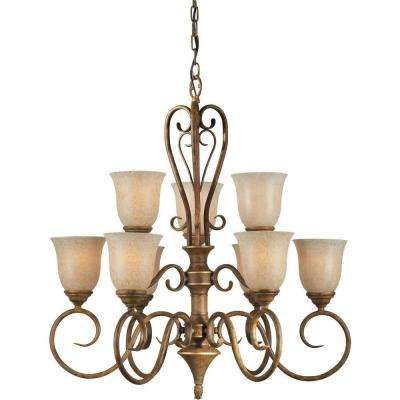 9-Light Chestnut Copper Chandelier with Mica Flake Glass
