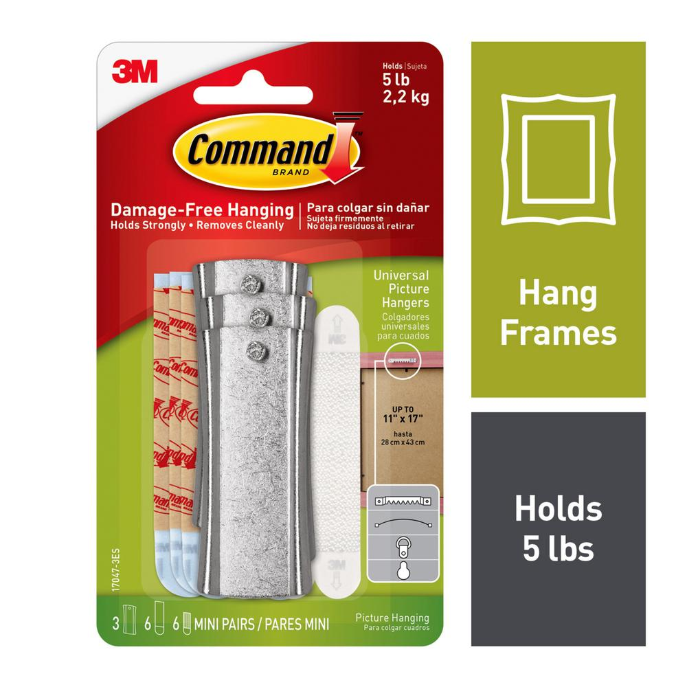 Command Large White Sticky Nail Sawtooth Hanger 3-Hangers 6-Large Adhesive Strips and 6-Sets of Mini Adhesive Strips/Pack