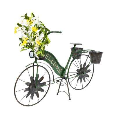 37 in. Long Solar Lighted Metal Bicycle Planter