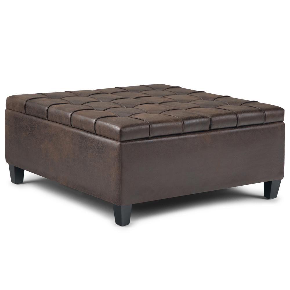 Harrison 36 in. Traditional Square Storage Ottoman in Distressed Brown Faux Air Leather