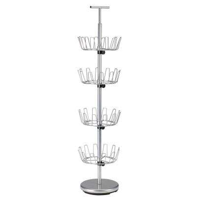52.75 in. 4-Tier 24-Pair Shoe Organizer in Satin Silver