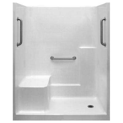 Classic 33 in. x 60 in. x 77 in. 1-Piece Low Threshold Shower Stall in White, Grab Bars, LHS Molded Seat, Right Drain