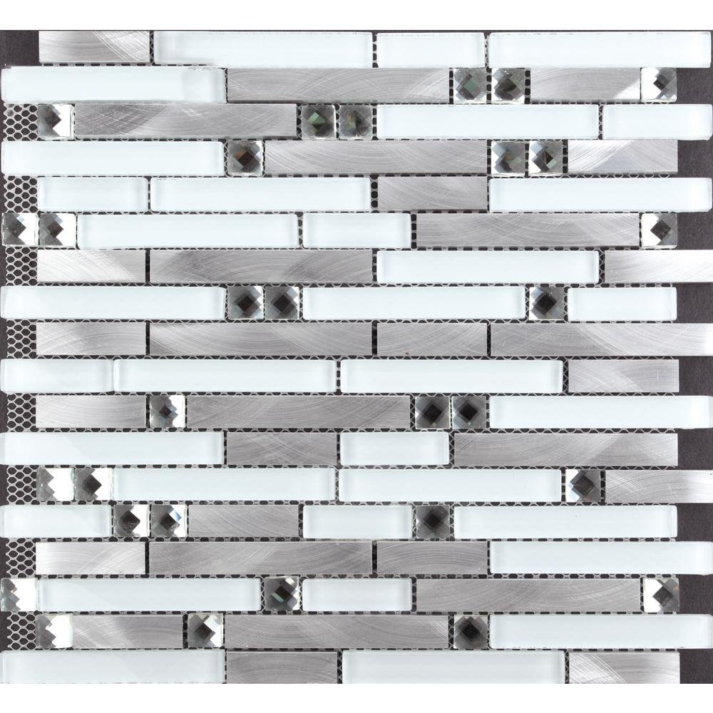 Chenx 11 81 In X 12 40 In Aluminum And Glass Mosaic