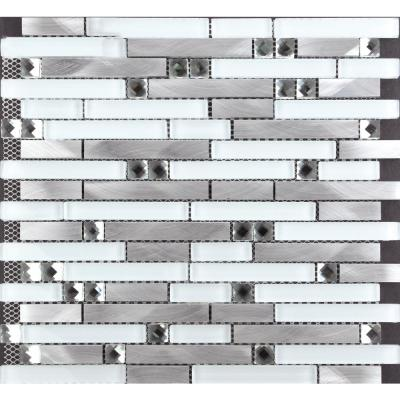 CHENX 11.81 in. x 12.40 in. Aluminum and Glass Mosaic Backsplash in White/Silver/Black (11.19 sq. ft./case)
