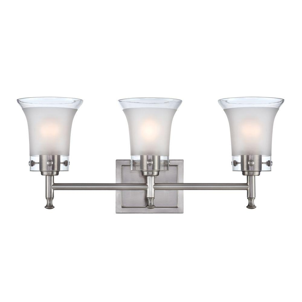 Illumine Designer Collection 3-Light Steel Bathroom Vanity Lamp with Frost Glass Shade