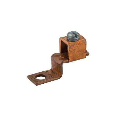 2-8 AWG Copper Solderless Lug, 1/4 in. Mounting Hole- 1 Count