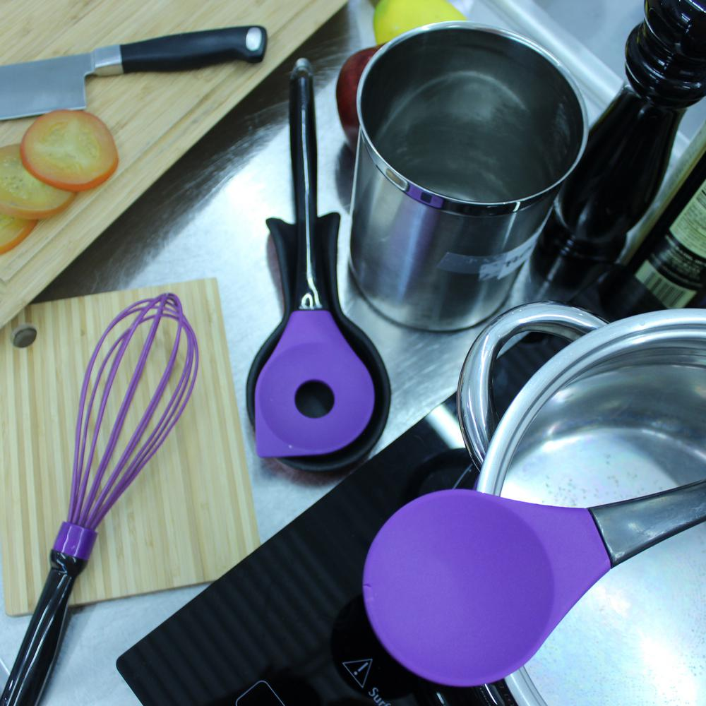 BergHOFF Geminis Silicone Purple 11.5 in. Salad Spoon 11.5 in. Slotted Spoon and 10.75 in. Whisk Utensils (Set of 3)