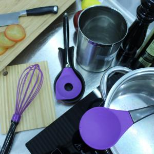 Geminis Silicone Purple 11.5 in. Salad Spoon 11.5 in. Slotted Spoon and  10.75 in. Whisk Utensils (Set of 3)
