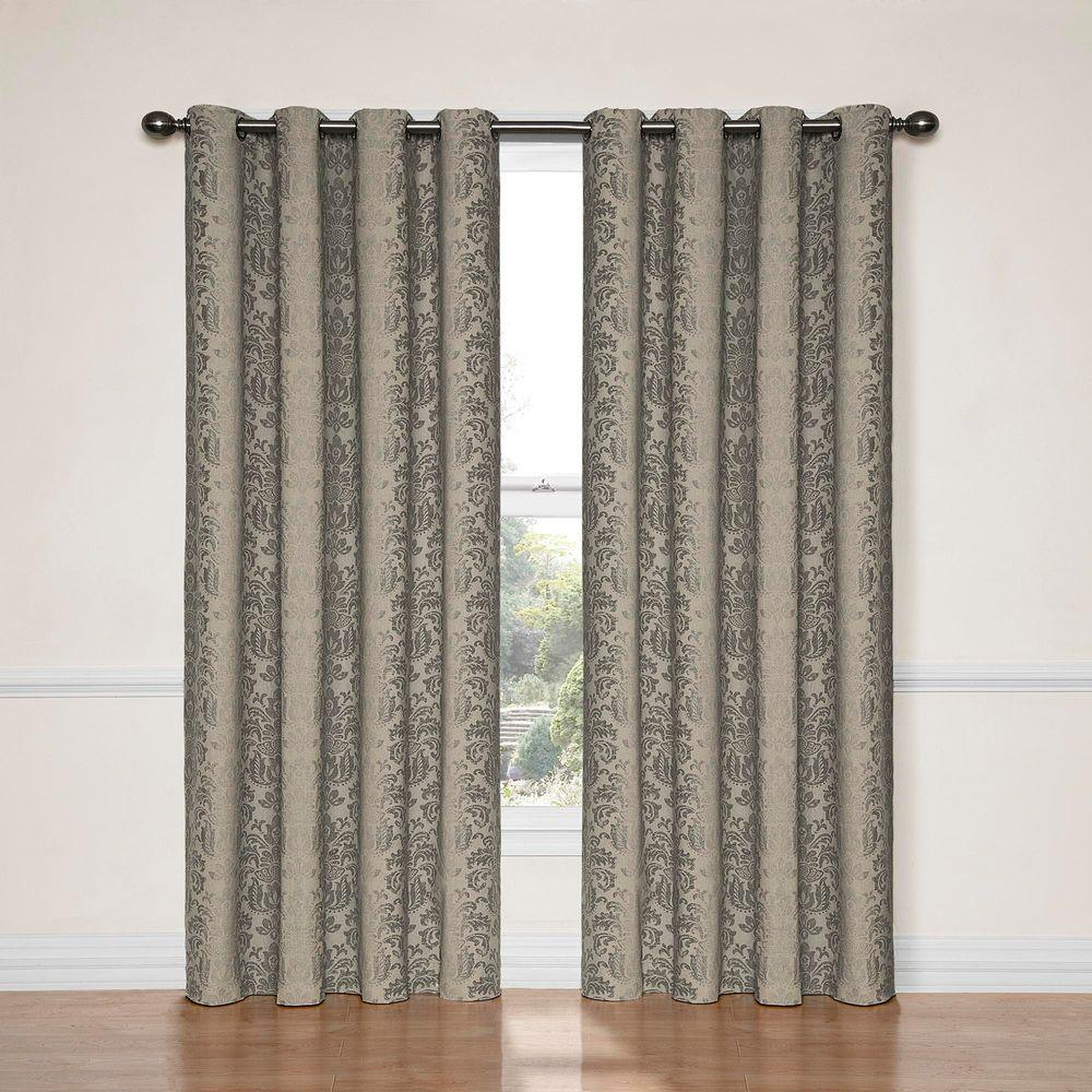 Nadya Print Blackout Window Curtain Panel in Black - 52 in.