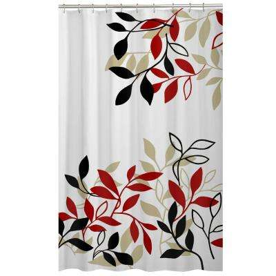 70 in. x 72 in. Satori Leaves Fabric Shower Curtain