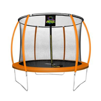 10 ft. Orange Pumpkin-Shaped Outdoor Trampoline Set with Premium Top-Ring Frame Safety Enclosure