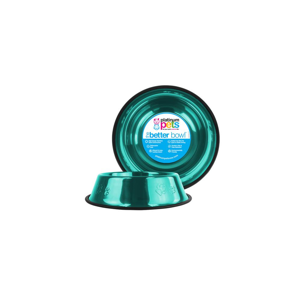 Platinum Pets 1 Cup Stainless Steel Embossed Non-Tip Cat Bowl in Teal