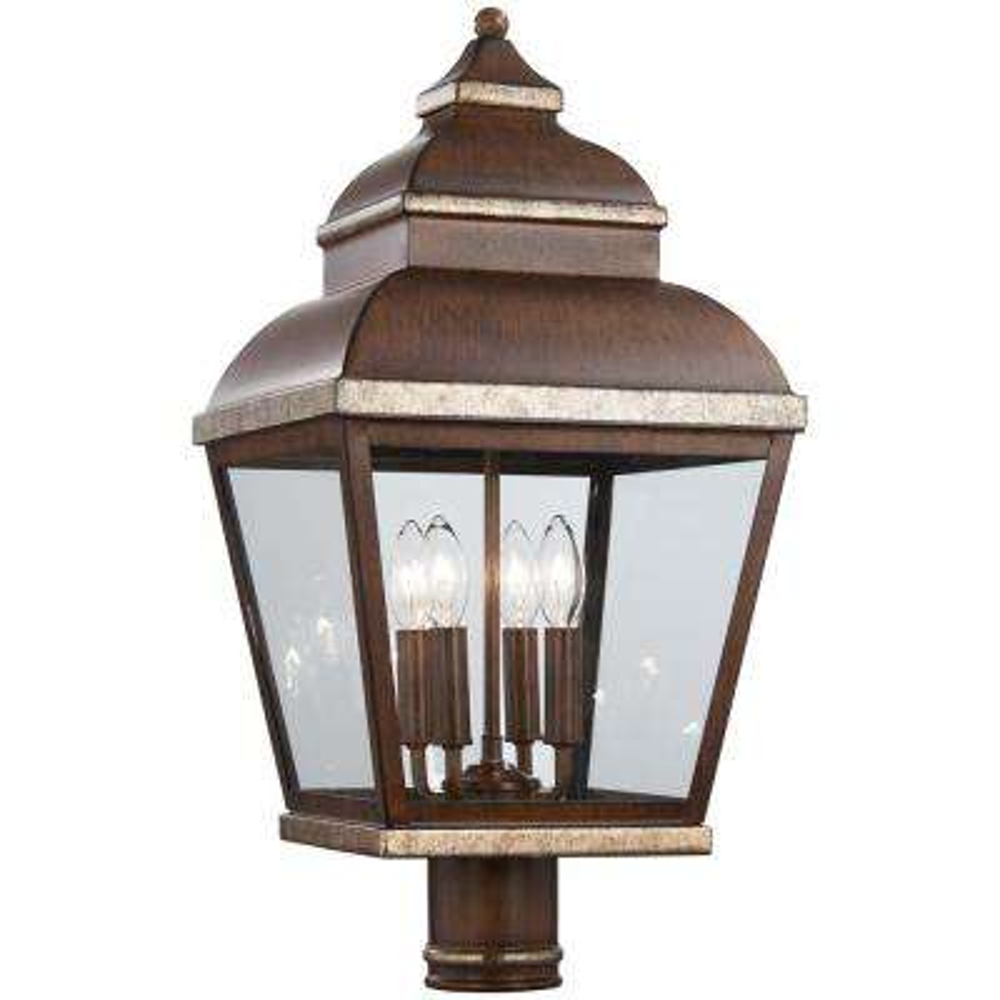 Mossoro 4-Light Outdoor Mossoro Walnut with Silver Highlights Post Mount Lantern