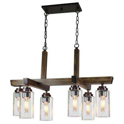 6-Light Distressed Pine Chandelier