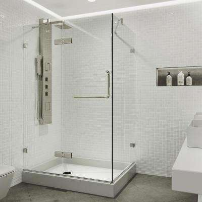 Monteray 48.125 in. x 79.25 in. Frameless Pivot Shower Door in Brushed Nickel with Clear Glass with Left Base