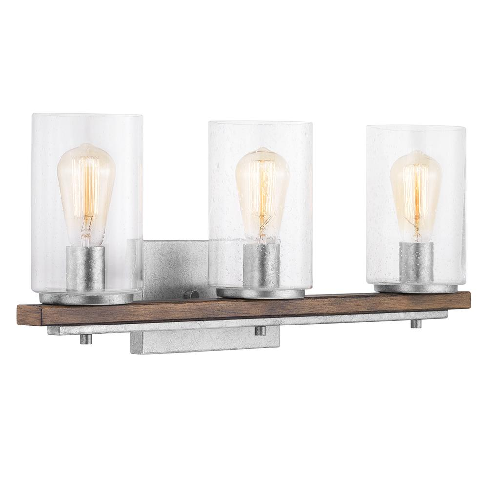 Home Decorators Collection Boswell Quarter 3-Light Galvanized Vanity Light with Painted Chestnut Wood Accents