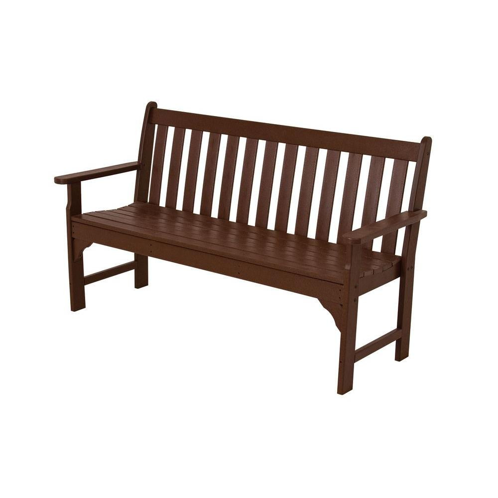 POLYWOOD Vineyard 60 in Mahogany Patio Bench GNB60MA The Home Depot