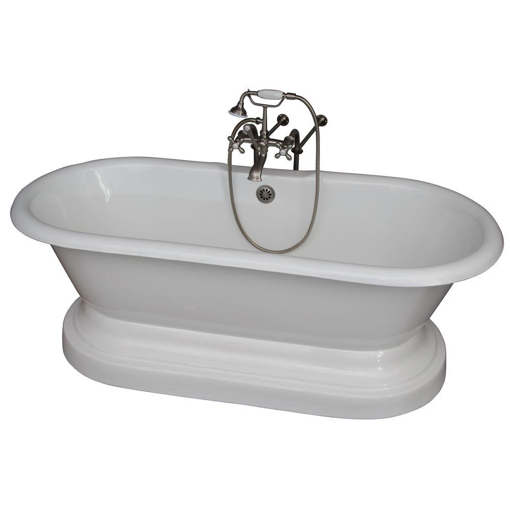 Barclay Products 5 6 Ft Cast Iron Double Roll Top Tub In White With