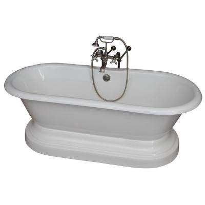 5.6 ft. Cast Iron Double Roll Top Tub in White with Brushed Nickel Accessories