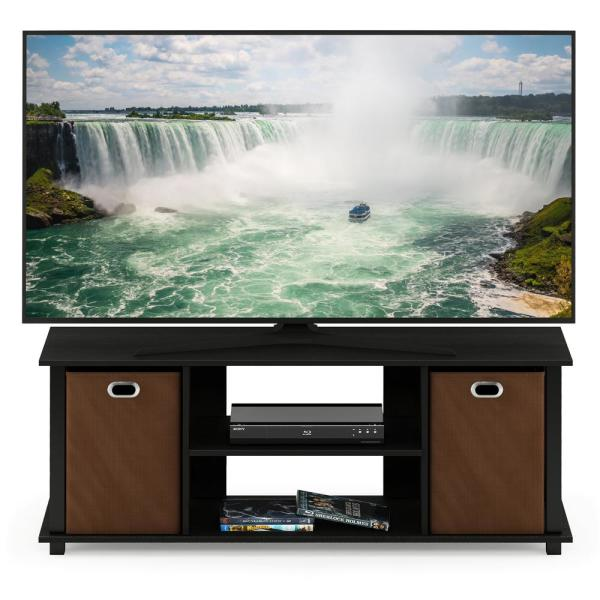 Econ Americano/Black/Medium Brown Entertainment Center with Storage Bin