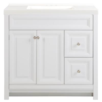 Brinkhill 37 in. W x 22 in. D Bath Vanity in White with Cultured Marble Vanity Top in White with White Sink