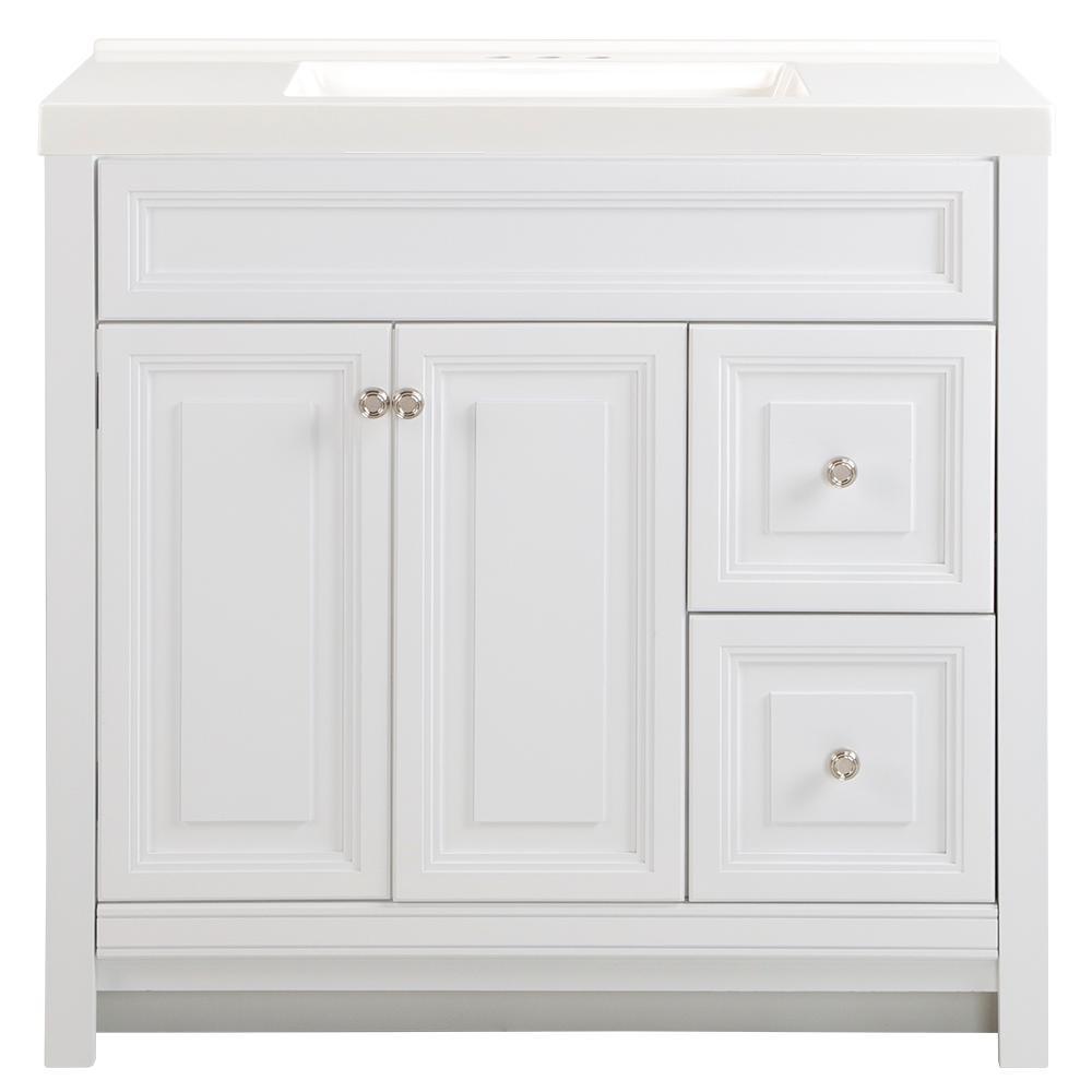 Brinkhill 37 in. W x 22 in. D Bath Vanity in White with Cultured Marble Vanity Top in White with White Sink