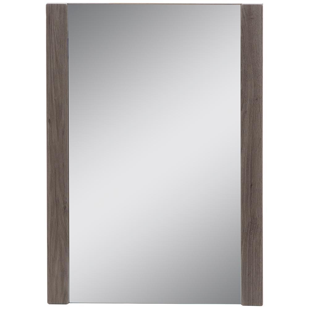 20 in. x 28 in. Framed Wall Mirror in Dark Oak