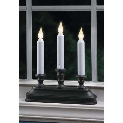 10.25 in. Warm White LED Battery Operated Candle with Aged Bronze  Candelabra