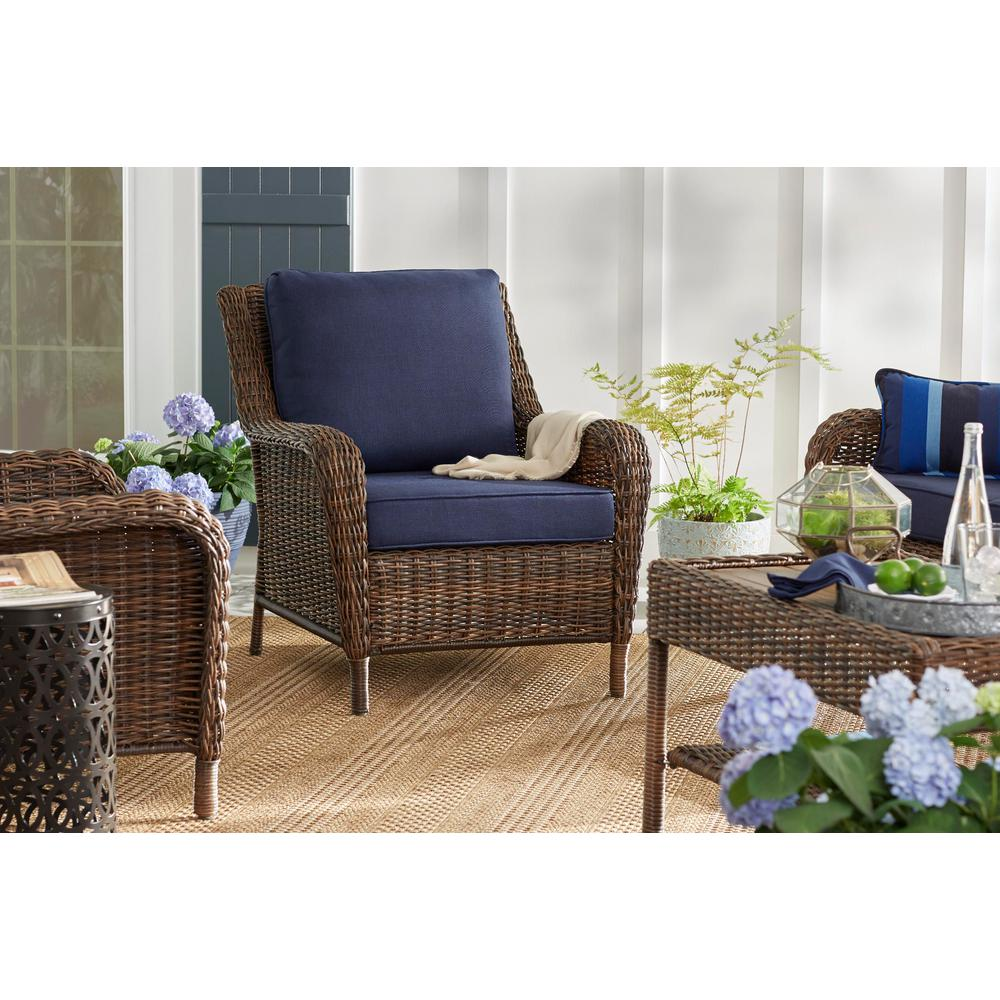 Details About Hampton Bay Cambridge Patio Lounge Chair Stationary Outdoor Wicker Furniture