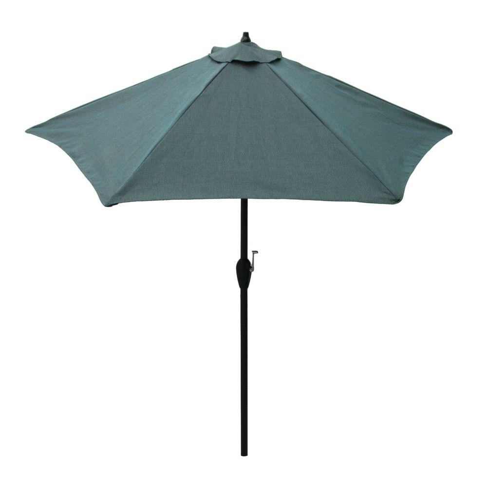Hampton Bay 9 ft. Aluminum Patio Umbrella in Peacock Java with Push-Button Tilt