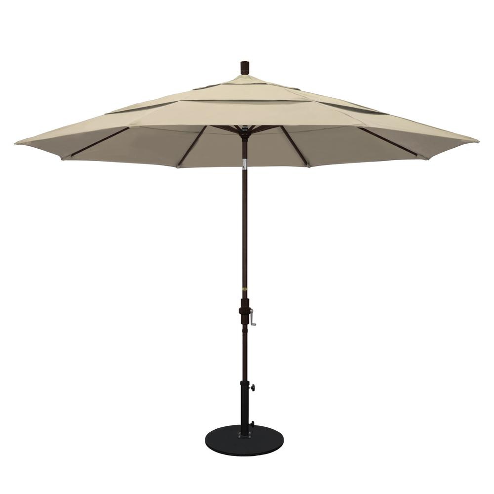 California Umbrella 11 ft. Aluminum Collar Tilt Double Vented Patio Umbrella in Beige Pacifica