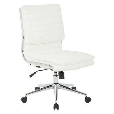 White Armless Mid Back Manager's Faux Leather Chair with Chrome Base