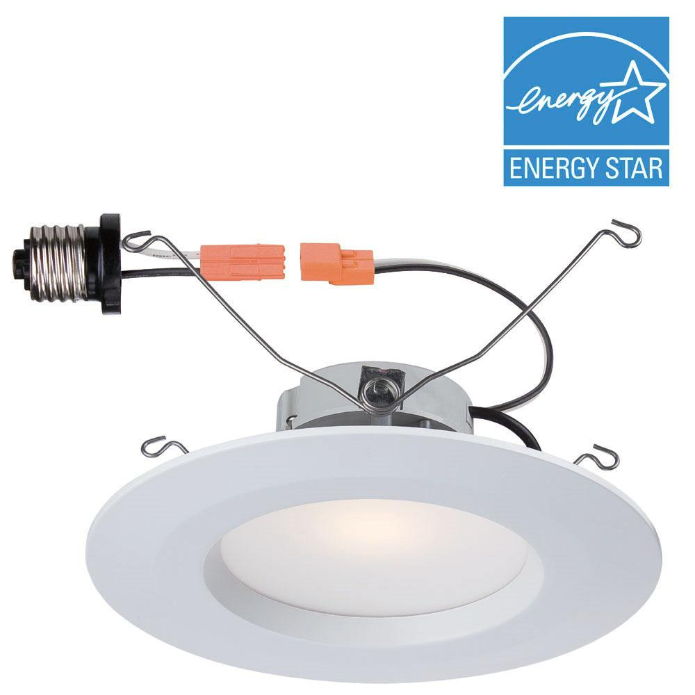 Commercial Electric 5 in. and 6 in. White Recessed LED Trim with ...