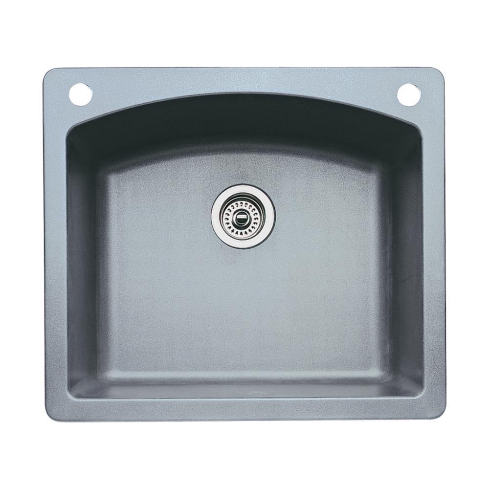Diamond Dual-Mount Granite 25 in. 2-Hole Single Bowl Kitchen Sink in Metallic Gray