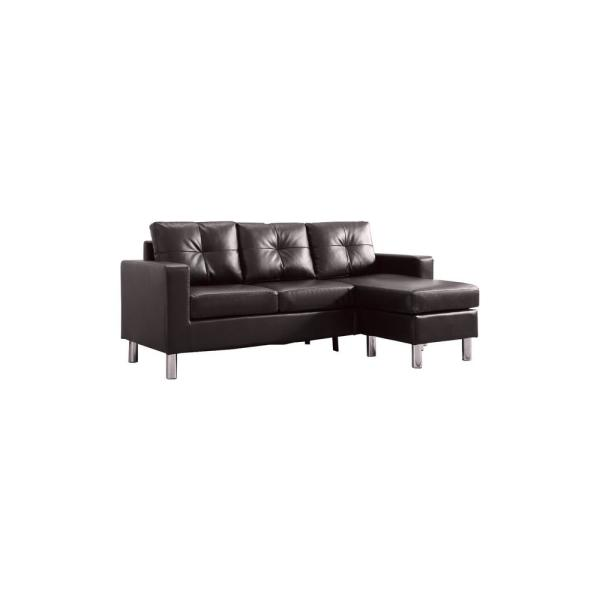 Brown Small Space Convertible Sectional Sofa 73030-40BR - The Home Depot