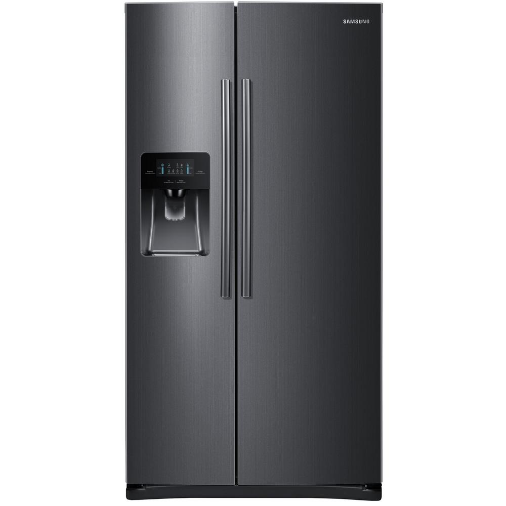 samsung 24 5 cu ft side by side refrigerator in fingerprint resistant black stainless. Black Bedroom Furniture Sets. Home Design Ideas