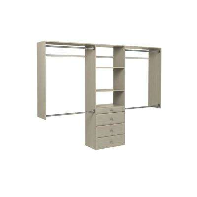 14 in. D x 96 in. W x 72 in. H Rustic Grey Ultimate Wood Closet Kit